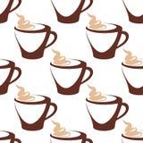 有奶油色无缝的样式的咖啡杯 免版税库存图片