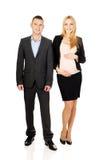 有她的伙伴的怀孕的女实业家 免版税库存照片