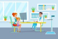 有她的女儿的红色头发母亲在门诊部招待会的儿科医生考试中 向量例证