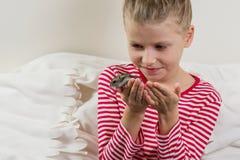 有她的宠物小仓鼠的可爱的小女孩 库存照片