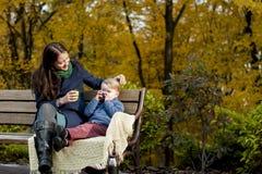 有她的小儿子的年轻母亲基于一个长木凳  库存照片