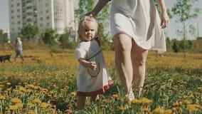 有她的小孩的美丽的妈妈在公园在温暖的夏日 股票视频