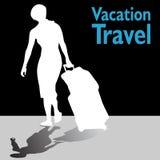 有她的皮箱的旅游妇女 免版税库存图片