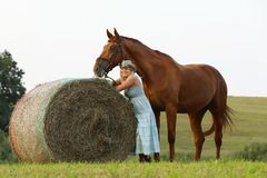 有她的马逗留的妇女在草甸的干草卷附近 免版税库存照片
