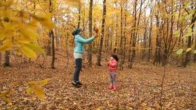 有她的婴孩的母亲在森林里 股票视频