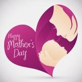 有她的婴孩的母亲心脏形状的为母亲节,传染媒介例证 库存照片