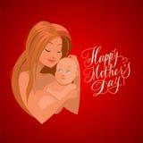 有她的婴孩的母亲 愉快的母亲节卡片  图库摄影