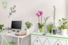 有好能量的家庭办公室 免版税库存图片