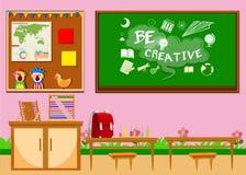 有委员会和椅子的基本的教室 库存例证