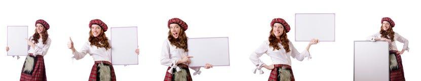 有委员会的苏格兰妇女白色的 免版税库存照片