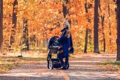 有婴儿推车的一个年轻母亲通过秋天公园走 免版税库存照片