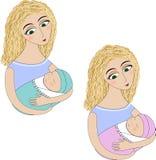 有婴孩的一名妇女 库存图片