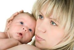 有婴孩的保姆 库存照片