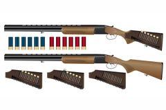 有子弹带的一杆现实狩猎无膛线炮的步枪 图库摄影