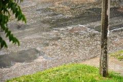 有孔的柏油路在大雨期间在一个夏日 在路的题材安全 免版税库存图片