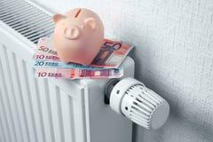 有存钱罐的热化电池 免版税库存照片