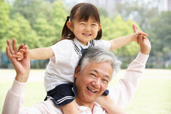 有孙女的中国祖父在公园 免版税库存图片