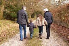 有孙的祖父母步行的在乡下 免版税库存照片