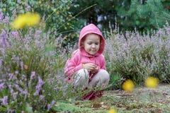 有学习的紫色紧急电报学龄前儿童女孩在夏天森林里开花 库存照片