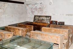 有学校课程的一间屋子在被加强的教会Prejmer的内在庭院里在Prejmer市在罗马尼亚 免版税库存图片