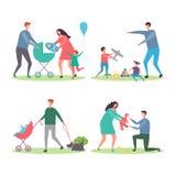 有孩子和狗的幸福家庭 走和使用与城市公园传染媒介的孩子的母亲和父亲 向量例证