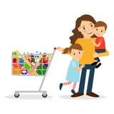 有孩子和shoping的推车的妇女 库存例证