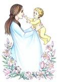有孩子的愉快的母亲在开花的百合中 铅笔框架 免版税库存照片