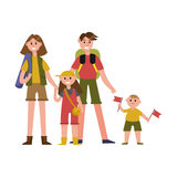 有孩子的愉快的父母在暑假漫画人物,野营的旅行传染媒介例证 免版税图库摄影