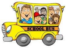 有孩子的校车 免版税库存图片