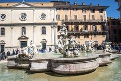 有它的喷泉的纳沃纳广场贝尔尼尼和德拉波尔塔在罗马意大利 库存照片