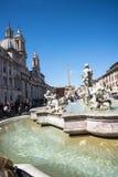 有它的喷泉的纳沃纳广场贝尔尼尼和德拉波尔塔在罗马意大利 免版税库存图片