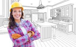 有安全帽、手套和风镜的女性建筑工人 免版税库存照片