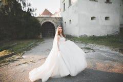 有完善的婚礼礼服的美丽的典雅的摆在老城堡附近的新娘和花束 免版税图库摄影