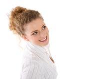 有完善的微笑的女孩-在白色背景隔绝的妇女 免版税库存照片