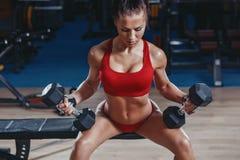 有完善的性感的年轻竞技女孩减肥符合在健身房的哑铃 库存照片