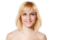 有完善的皮肤的白肤金发的女孩 库存照片