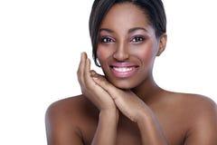 有完善的皮肤的非洲妇女 库存照片