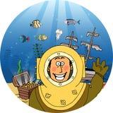 有宝物箱的潜水者 免版税库存图片