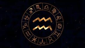 有宝瓶星座的金黄黄道带占星spinnig轮子在中心签字 向量例证