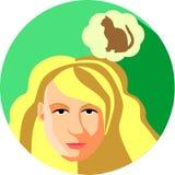 有宠物的长的头发梦想的时髦的女人 平的样式 Blo 库存图片