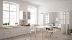 有客厅的最低纲领派斯堪的纳维亚白色厨房ba的 免版税库存照片