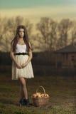 有室外aplle的篮子的少妇 库存图片