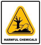 有害的化学制品保持危害对水生环境,危险警告危险横幅,被隔绝的传染媒介 向量例证