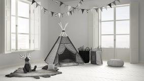 有家具、地毯和帐篷的,两儿童居室全景窗口 库存图片