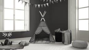 有家具、地毯和帐篷的,两儿童居室全景窗口 图库摄影