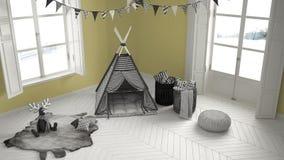 有家具、地毯和帐篷的,两儿童居室全景窗口 免版税图库摄影
