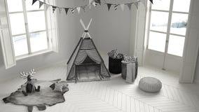 有家具、地毯和帐篷的,两儿童居室全景窗口 库存照片