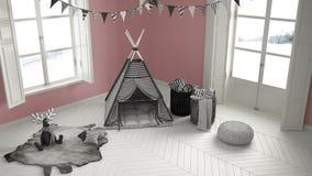 有家具、地毯和帐篷的,两儿童居室全景窗口 免版税库存图片