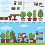 有家具和植物的村庄庭院 免版税库存图片
