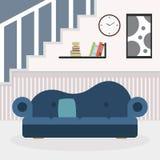 有家具和窗口的客厅 阅览室 平的样式例证 向量例证